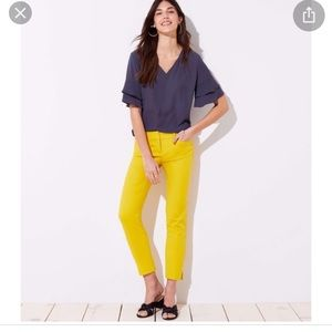 Ann Taylor Loft Riviera Ankle Yellow Capris Jeana